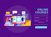 Online Education Flat Background Website Login Page With Sign In Button Fields For Username And Pass poster