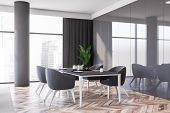 Corner Of Panoramic Luxury Dining Room With Gray Panel Walls, Wooden Floor, Long Dining Table And Co poster