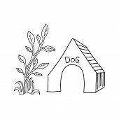 Dog House Icon. Dog House Icon Vector Flat Illustration For Graphic And Web Design Isolated On Black poster