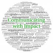 Communicating with Impact concept in word tag cloud on white background
