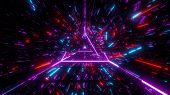 Highly Abstract Desctroyed Glowing 3d Illustration With Glowing Triangle Wireframe Background Wallpa poster
