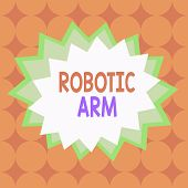 Text Sign Showing Robotic Arm. Conceptual Photo Programmable Mechanical Arm With Similar Function Of poster