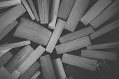 Stack Of Old Books Background In Black And White. Top View Of Many Books Piled Together. Vintage Boo poster