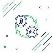 Blue And Green Line Cryptocurrency Exchange Icon On White Background. Bitcoin To Dash Exchange Icon. poster