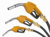 stock photo of bowser  - Gas pump nozzles o0n white isolated background - JPG