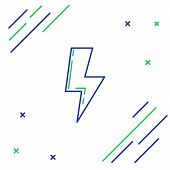 Blue And Green Line Lightning Bolt Icon Isolated On White Background. Flash Sign. Charge Flash Icon. poster