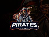 Pirate Vector Logo Template. Pirate Sport Gaming Mascot Logo Template. Esport Gaming Mascot Logo Tem poster