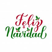 Feliz Navidad Calligraphy Hand Lettering With Holly Berry Mistletoe Isolated On White. Merry Christm poster