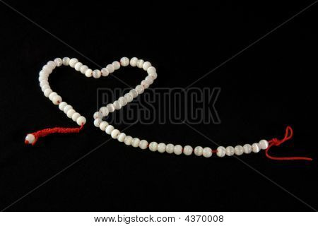 White Beaded Heart