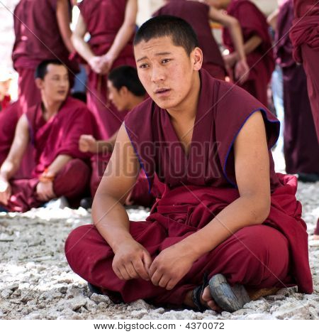 Sera Monastery, Tibet China - July 7: A Group Of Buddhist Lama Is Debating In A Monastery July 7 200