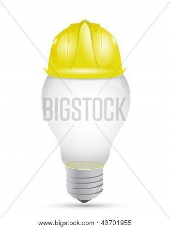 Idea Light Bulb Under Construction Sign
