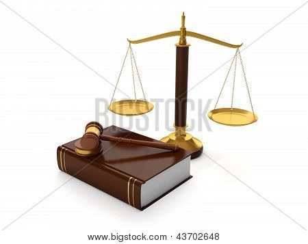 3D Illustration: Legal Aid. Trial Balance And The Hammer Of The Law Book Of Symbols