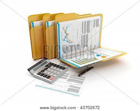 3D Illustration: Business Idea. The Group Folders With Documents And A Calculator. Accounts