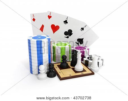 3D Illustration: Entertaining Game. Poker With Chips And Chess