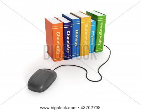 3D Illustration: On-line Learning. Group Of School Textbooks And Computer Mouse