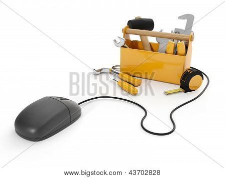 3D Illustration: Online Tools, Technical Support. Mouse And A Group Of Tools On White Background, Is