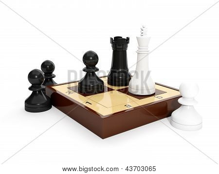 3D Illustration: The Game Of Chess. The Group Of Chess Pieces On The Board