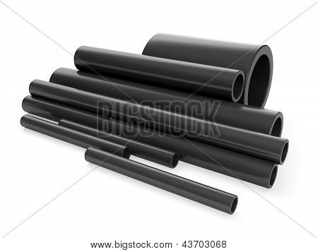 3D Illustration: A Group Of Plastic Pipes