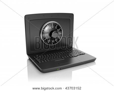 3D Illustration: Information Security. A Laptop And A Combination Lock