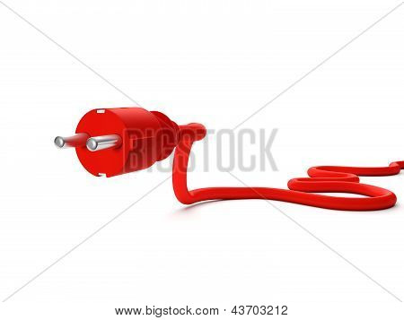 3D Illustration: Red Power Outlet On A White Background