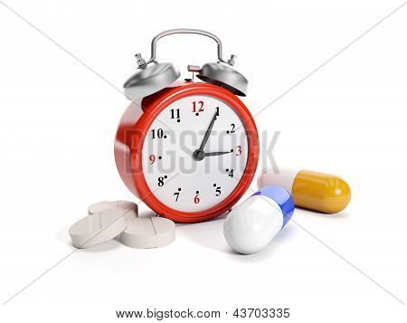 3D Illustration: Big Red Alarm Clock And Tablet Meditsynskiya. Time Of Reception Of Tablets