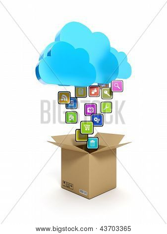 Downloading Mobile Icons. A Blue Cloud And A Box With Icons On A White Background