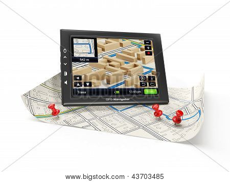 3D Illustration: Gps Navigator And Map. Finding A New Route To The Desired Object