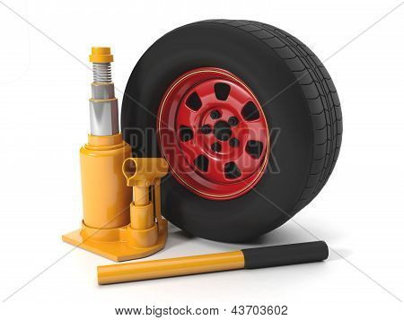 3D Illustration: Repair Of Automobiles, The Jack On A White Background