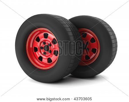 3D Illustration: Car Repair Car Wheel On A White Background