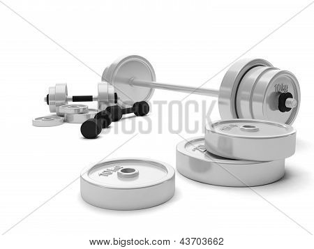 3D Illustration: Arrangement Of Sports Equipment, Dumbbells Barbell