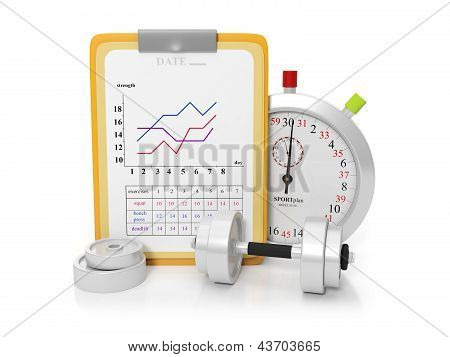 3D Illustration: Arrangement Of Sports Equipment, Stopwatch. Gym