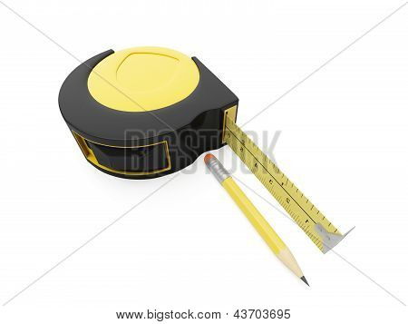 3D Illustration: Pencil And Ruler On A White Background