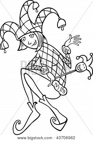 Woman In Jester Costume Cartoon