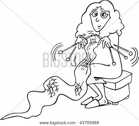 Knitter Woman Cartoon Illustration