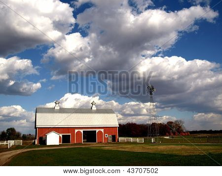 Red Indiana Barn with windmill in autumn at Prophetstown State Park Indiana