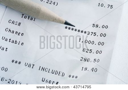 Bill Shopping List And Pencil