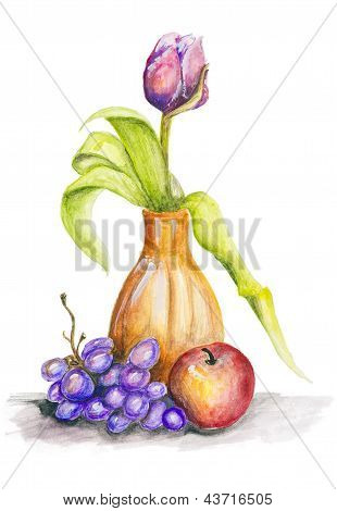 Tulip And Fruits Still Life