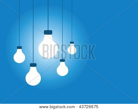 Lightbulbs on a Blue Background