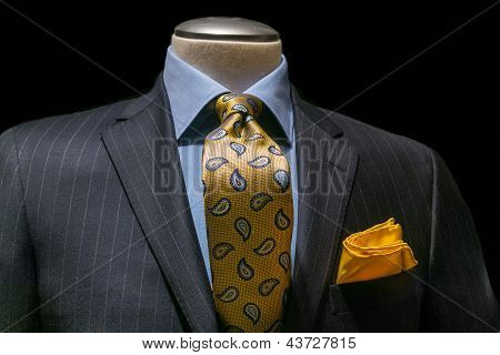 Gray Striped Jacket, Blue Shirt, Patterned Yellow Tie & Handkerchief