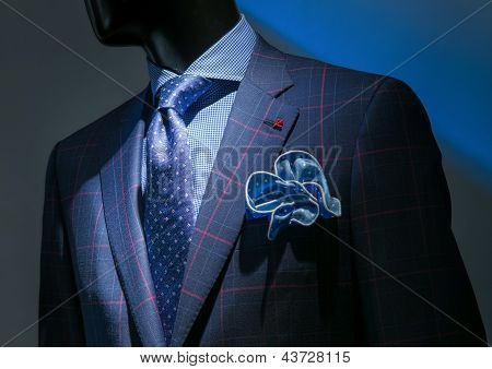 Blue & Red Checkered Jacket With Checkered Blue Shirt, Patterned Blue Tie & Handkerchief