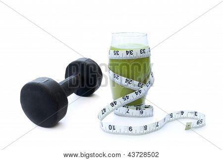 Dumbell And Green Smoothie