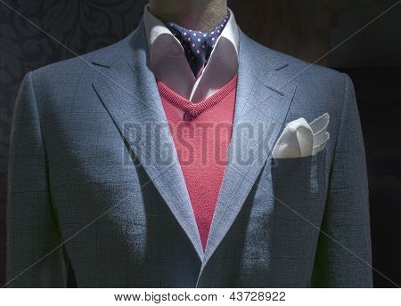 Light Blue Checkered Jacket With Red Sweater, Shirt, Tie & Handkerchief (horizontal)