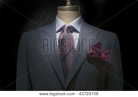 Gray Jacket With White & Blue Checkered Shirt, Striped Tie And Maroon Handkerchief