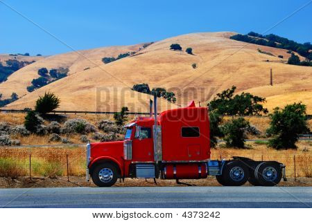 Red Truck In California Hills
