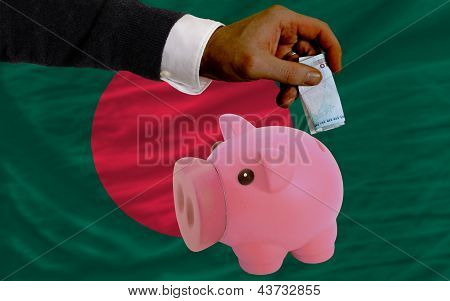 Funding Euro Into Piggy Rich Bank National Flag Of Bangladesh