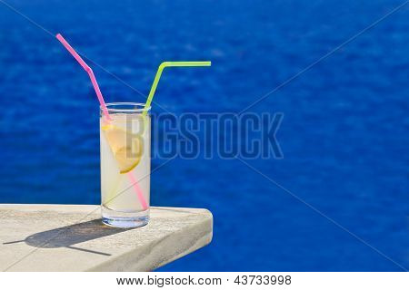 Cocktail On Table At Beach
