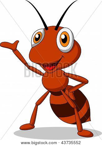Cute ant waving hand