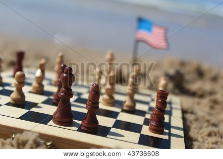 Chess game at the beach