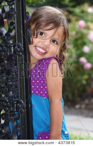 Toddler Posed By A Gate