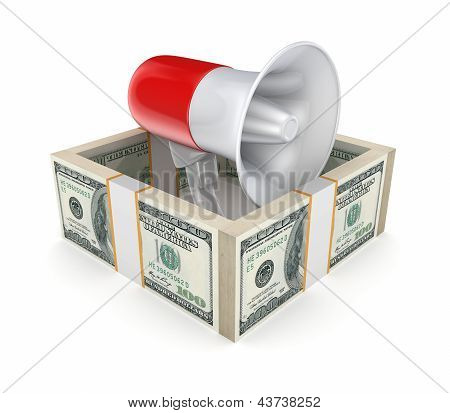 Megaphone behind a wall of money.